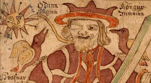 Хугин и Мунин  пара воронов в скандинавском мифологии, которые летают по всему миру Мидгарду и сообщают богу Одину о .... - Изображение 1