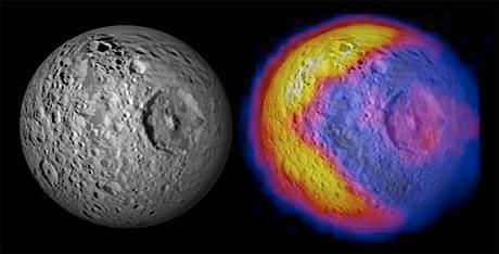 Орбитальный зонд Cassini составил карту температур Мимаса  одного из спутников Сатурна, которая явила миру изображен .... - Изображение 1