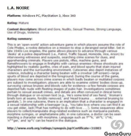 На официальном сайте оценочной комиссии ESRB появилось описание будущего интерактивного детектива L.A. Noire. Смотри ... - Изображение 1