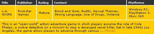 Источником этого слуха стала информация на сайте рейтинговой организации ESRB. В профиле проекта LA Noire в числе пр ... - Изображение 1