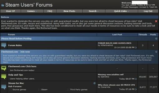 Прошлой ночью форумы сервиса Steam были взломаны. На пользовательских форумах появился редирект на сайт Fkn0wned.com ... - Изображение 1