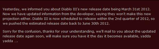 В интернете появилась интересная информация о дате выхода Diablo III.  Один из крупнейших западных интернет-магазино ... - Изображение 1
