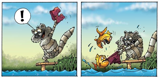 Енот и рыбы. Вот рыбам не понравилась стирка в их водоеме.  Месть енота была страшной :)  Автор идеи и контура - Але ... - Изображение 1