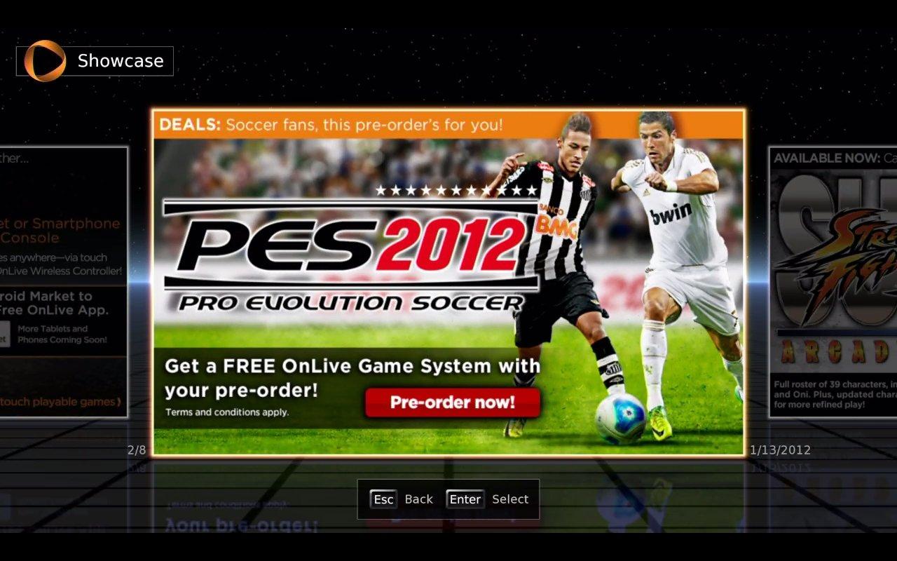 Вот такая промоакция от игрового сервиса OnLive. За оплаченный предзаказ футбольного симулятора PES 2012 (за $39.99) ... - Изображение 1