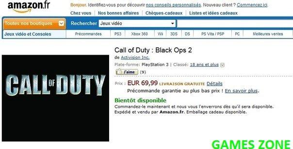 """Вот скриншот французской версии сайта Amazon, когда туда """"случайно"""" добавили Call of Duty: Black Ops 2 ВОТ может так ... - Изображение 1"""