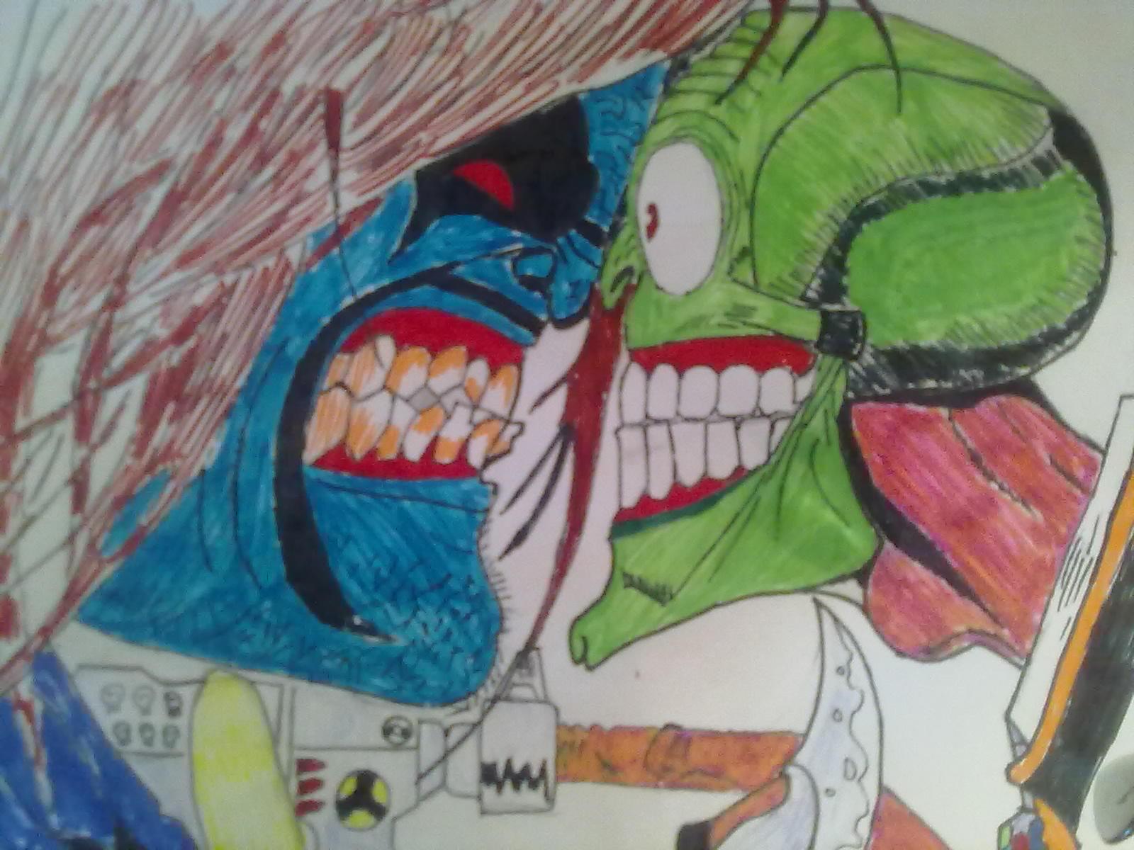 Вчера когда мне нечего было делать я решил срисовать два культовых персонажей комиксов Лобо и Маска (Lobo vs Mask).  ... - Изображение 3