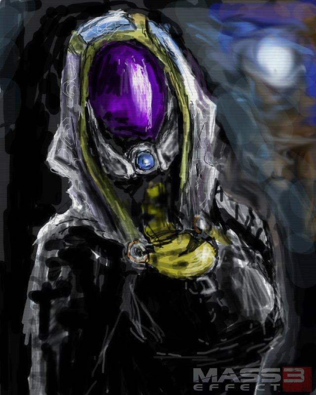 """Мой первый """"фан-арт"""" по Mass Effect.Планшет+фотошоп+час работы.  Этапы рисования:  Прошу оценить, жду объективной кр ... - Изображение 1"""