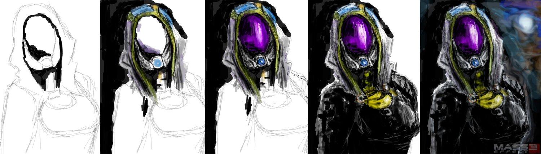 """Мой первый """"фан-арт"""" по Mass Effect.Планшет+фотошоп+час работы.  Этапы рисования:  Прошу оценить, жду объективной кр ... - Изображение 2"""