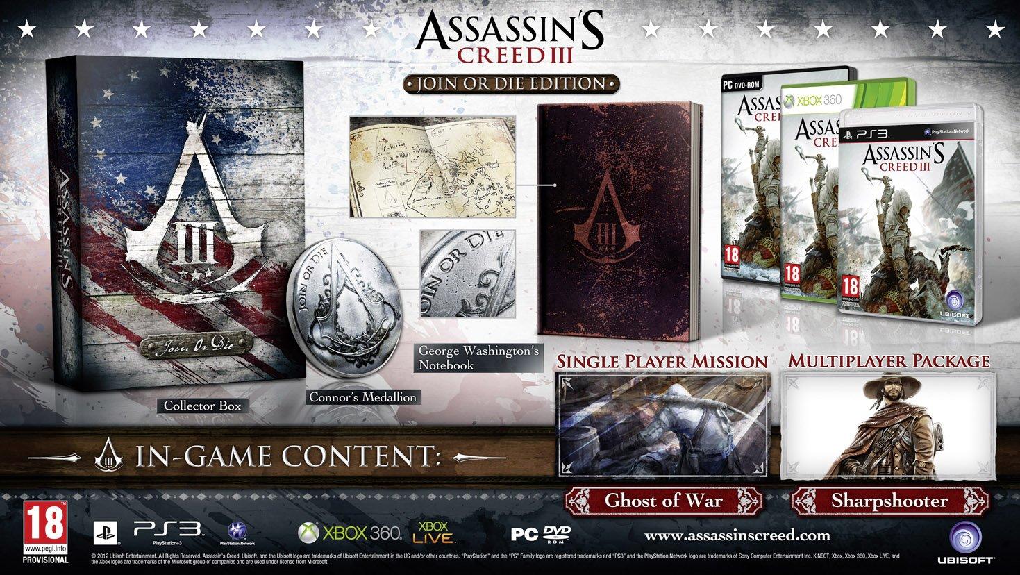 Ubisoft представила нам 3 варианта своих коллекционных изданий,названия которых: Join or Die Edition, Freedom Editio .... - Изображение 1