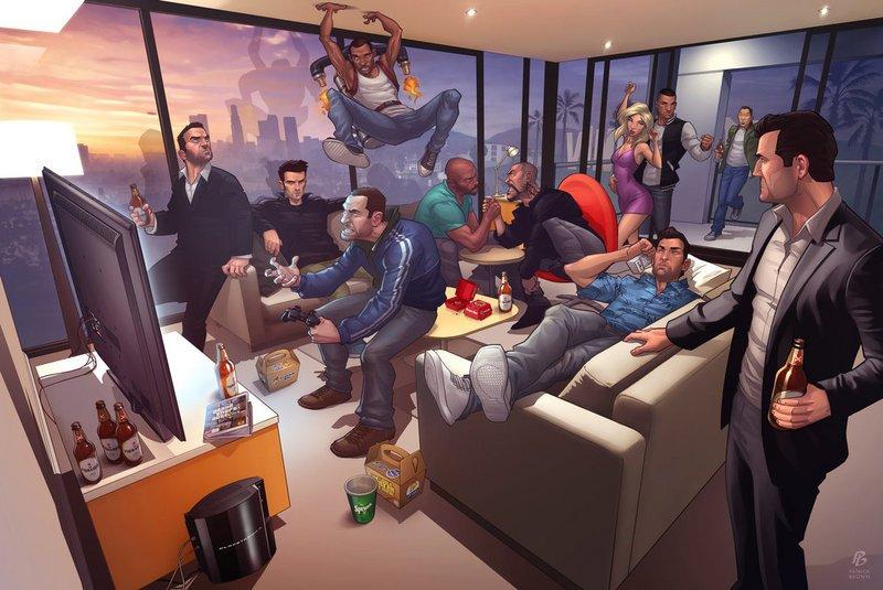 Замечательный арт GTA со всеми участниками серии, включая нового героя GTA5 по имени Альберт де Сильва, в исполнении .... - Изображение 1