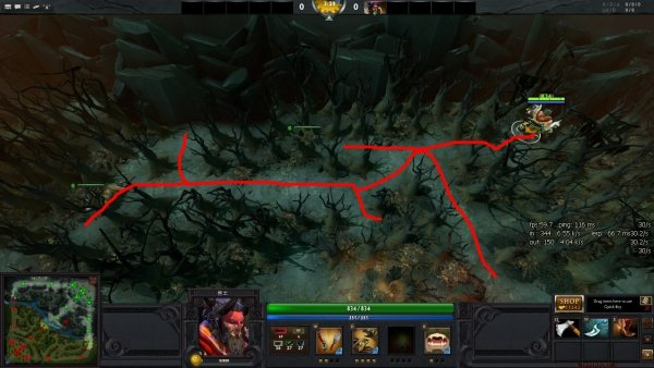 Juking это переход на территорию, где много препятствий, в попытки убежать Dota 2. Препятствия, блокирующие обзор, э ... - Изображение 1