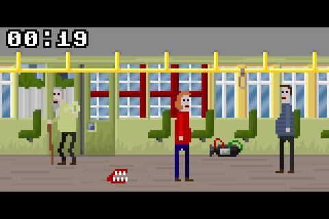 Меленький пиксельный человек в красном свитере оказывается в раздолбанном общественном душе: кран сломан, из посетит ... - Изображение 1