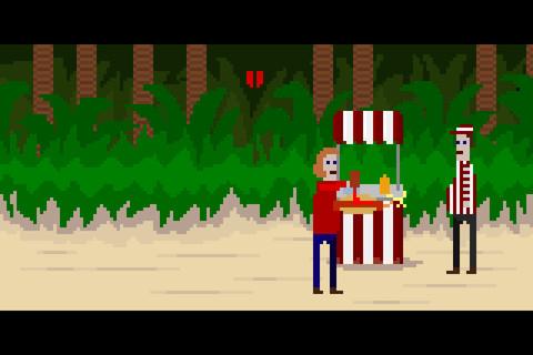 Меленький пиксельный человек в красном свитере оказывается в раздолбанном общественном душе: кран сломан, из посетит ... - Изображение 2