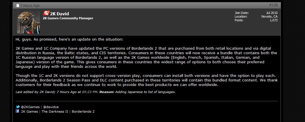 Российским владельцам Borderlands 2 выдадут английскую версию - Изображение 1