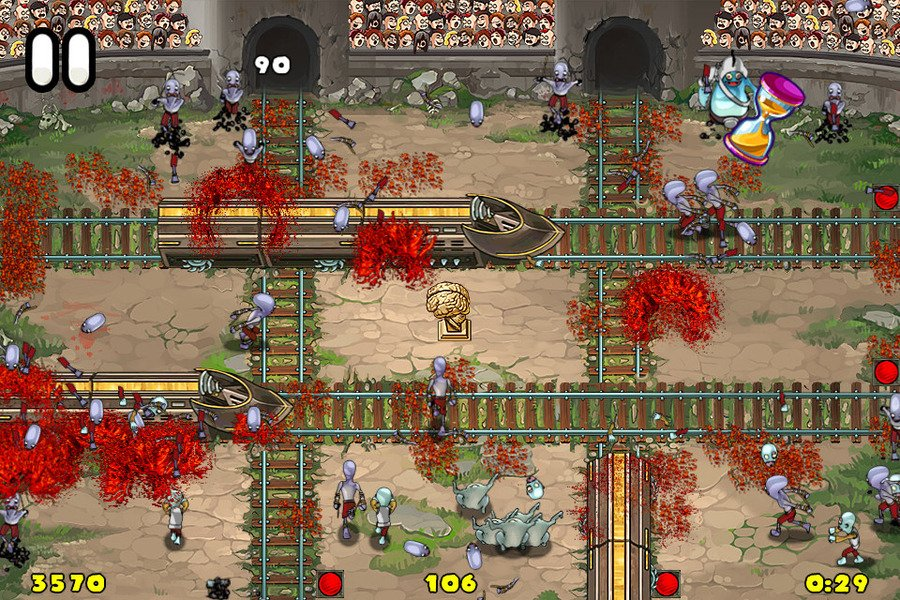 Driving the train in a zombie apocalypse and transport passengers!