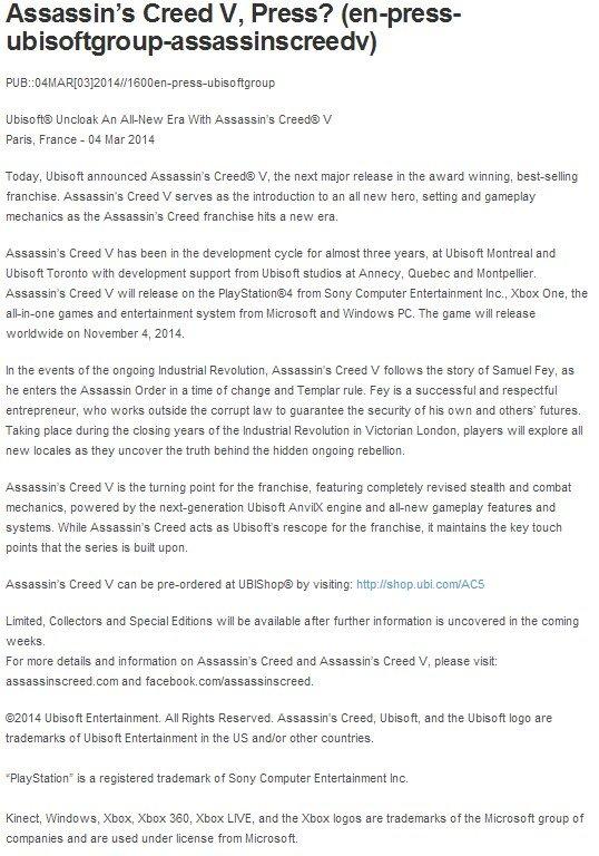 В интернеты слили пресс-релиз AC5 (Слух) - Изображение 1