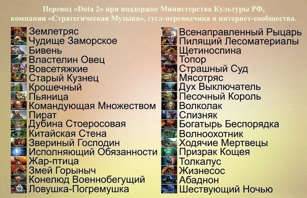 Имена героев на русском DOTA 2 - Изображение 1