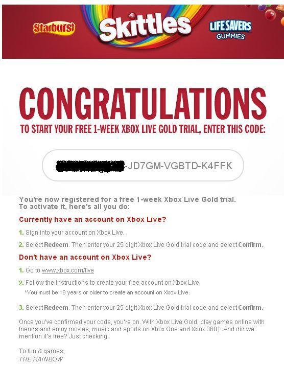 Skittles раздают Trial коды на неделю бесплатного пользования Xbox Live Gold.  - Изображение 2