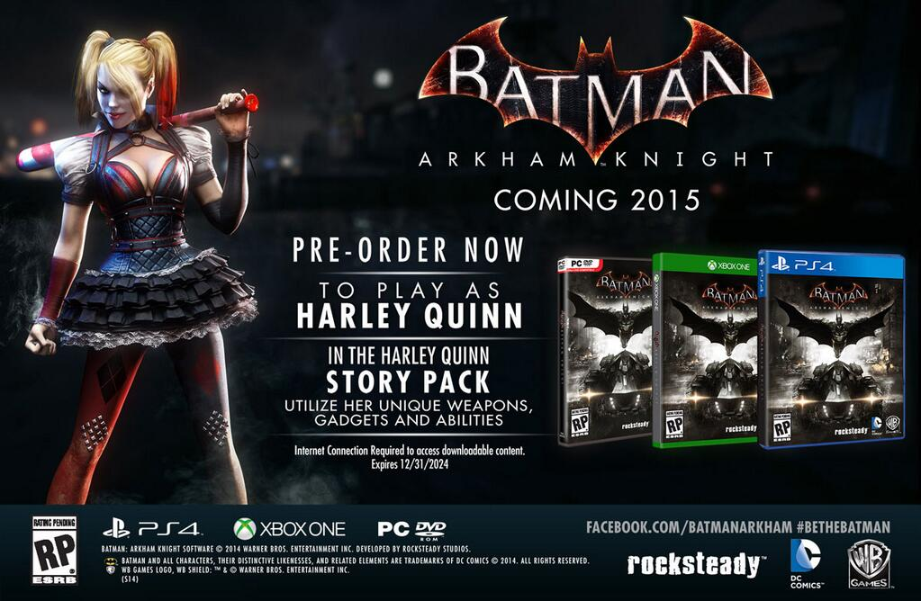 Кампания за Харли Квин будет доступна как бонус за предзаказ Batman: Arkham Knight - Изображение 1