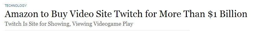 The Wall Street Journal сообщает, что Twitch покупает не Google, а Amazon. Говорят, что они уже договорились о цен .... - Изображение 1