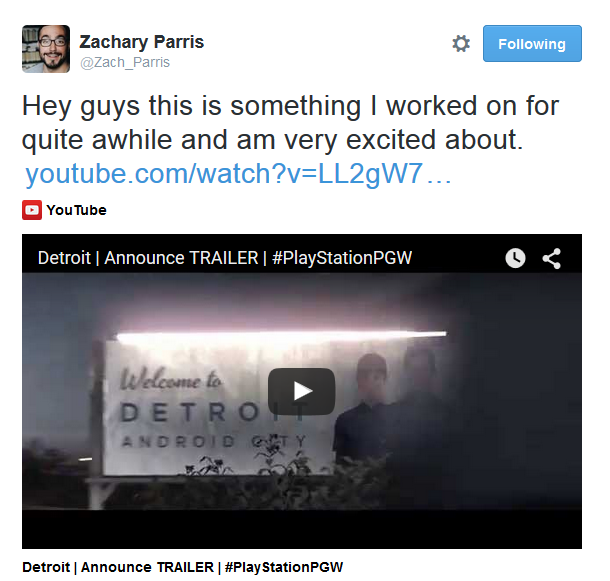 Detroit: BH - за сценарий и режиссуру новой игры Quantic Dream отвечает не только Дэвид Кейдж - Изображение 1