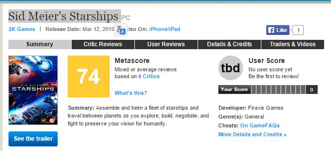 Первые оценки Sid Meier's Starships  - Изображение 1
