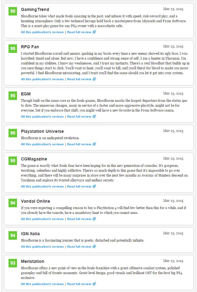 Bloodborne (93) - плюсы и минусы отмеченные журналистами, а также оценки Metacritic  - Изображение 3