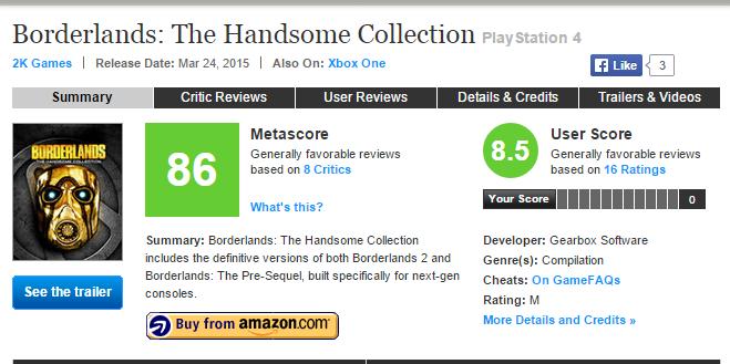 Оценки Borderlands: The Handsome Collection и первые оценки Game of Thrones Episode III - Изображение 1