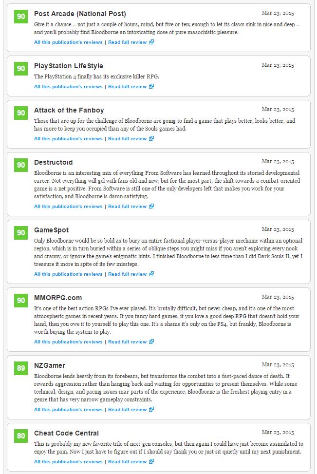 Bloodborne (93) - плюсы и минусы отмеченные журналистами, а также оценки Metacritic  - Изображение 5