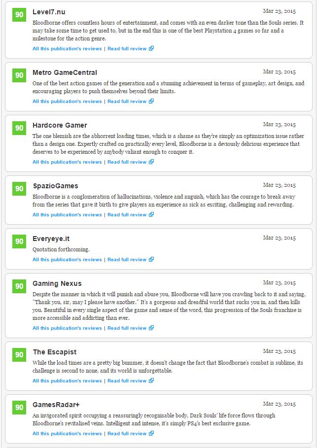 Bloodborne (93) - плюсы и минусы отмеченные журналистами, а также оценки Metacritic  - Изображение 4