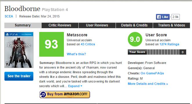 Bloodborne (93) - плюсы и минусы отмеченные журналистами, а также оценки Metacritic  - Изображение 1