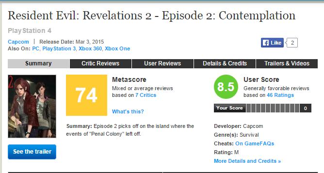 Оценки Resident Evil: Revelations 2 - Episode 2: Contemplation - Изображение 1