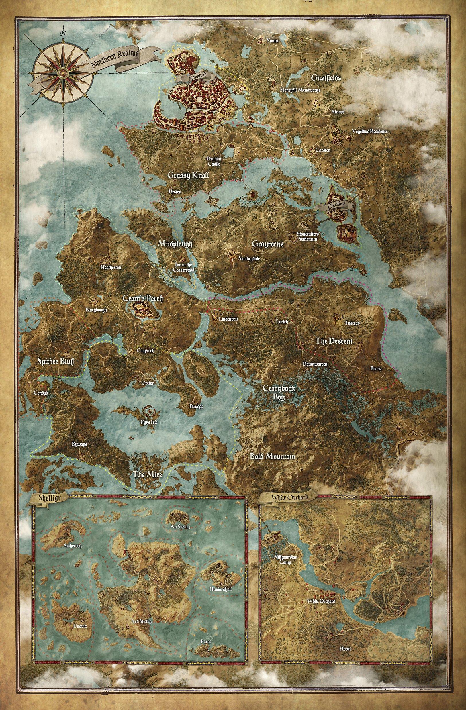 The Witcher 3: Wild Hunt. Карта мира.  Ничего особенного, просто карта огромного игрового мира.    #RВедьмак.  - Изображение 1