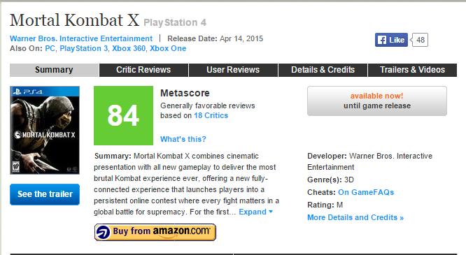 Первые оценки Mortal Kombat X (84) Главный релиз апреля ! - Изображение 1