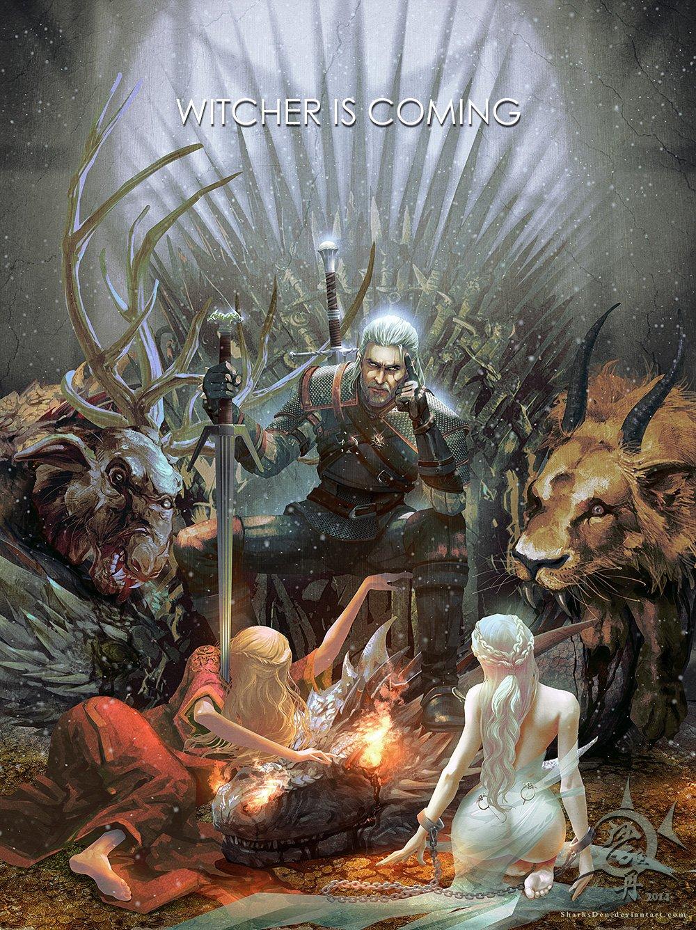 Witcher is coming, китайский художник на польскую игру с намёком на американский сериал - Изображение 1