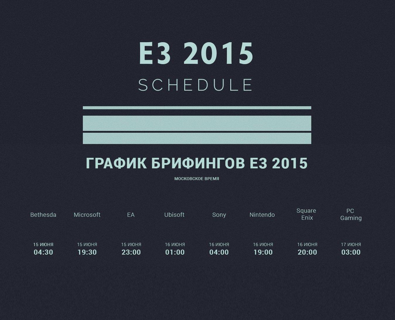 Расписание E3 2015 - Изображение 1