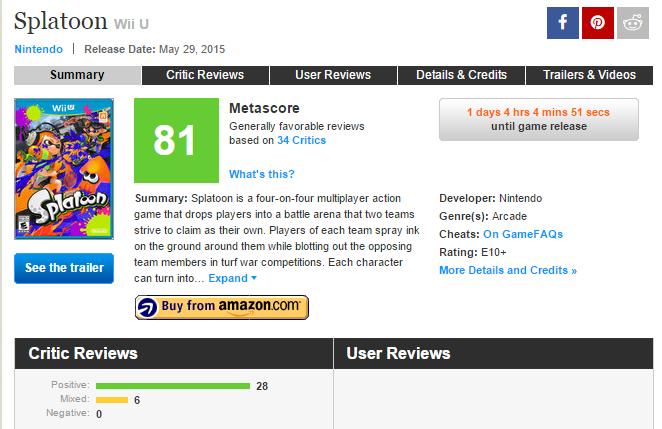 Оценки эксклюзива Wii U : Splatoon !. - Изображение 1