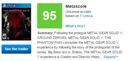 Первые оценки Metal Gear Solid V: The Phantom Pain  - Изображение 1