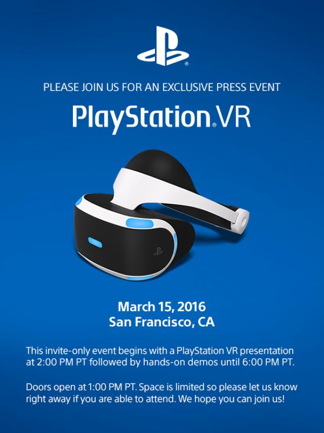 Sony проведет PlayStation VR Press Event 15 марта 2016 года. Слава богу не на Е3! - Изображение 1