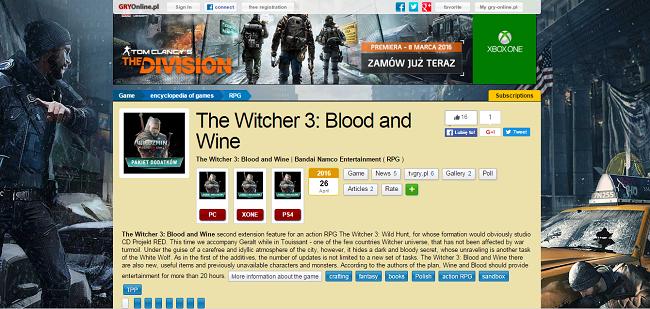 """GRYOnline: Дополнение """"Кровь и вино"""" для The Witcher 3: Wild Hunt поступит в продажу 26 апреля - Изображение 1"""