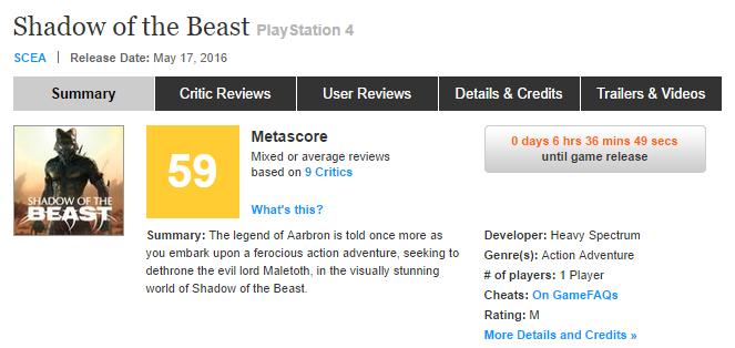 Первые оценки Shadow of the Beast! Эксклюзива PS4! - Изображение 1
