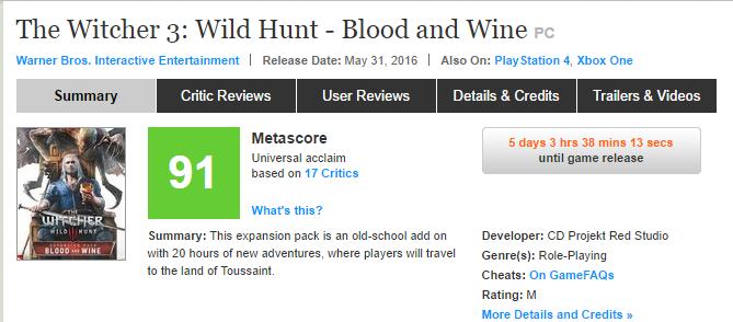 Первые оценки легендарного дополнения Вино и Кровь к Ведьмаку 3! - Изображение 1