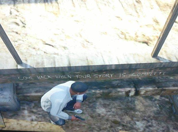 """Интригующее послание в GTA5. """"Возвращайся, когда закончишь свою историю"""". - Изображение 1"""