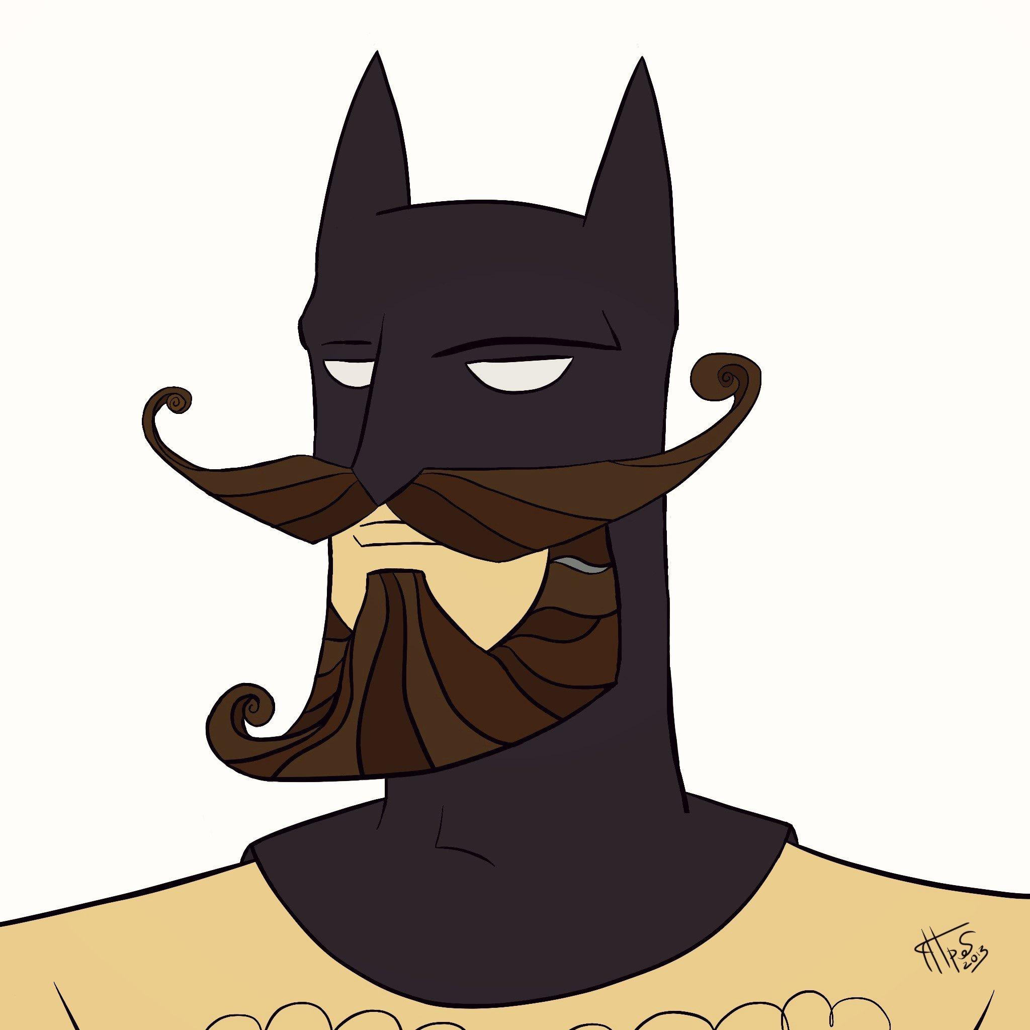 """Меня долго мучил вопрос из разряда """"А что если"""" про Бэтмена и усы)) И вот нарисовалось))  P.S. Теперь еще и борода... - Изображение 2"""