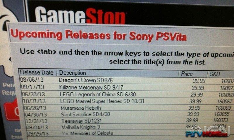 Даты релиза игр на PS Vita: утечка из GameStop или глупая подделка?Некий источник предоставил IGN фото, на котором п ... - Изображение 1