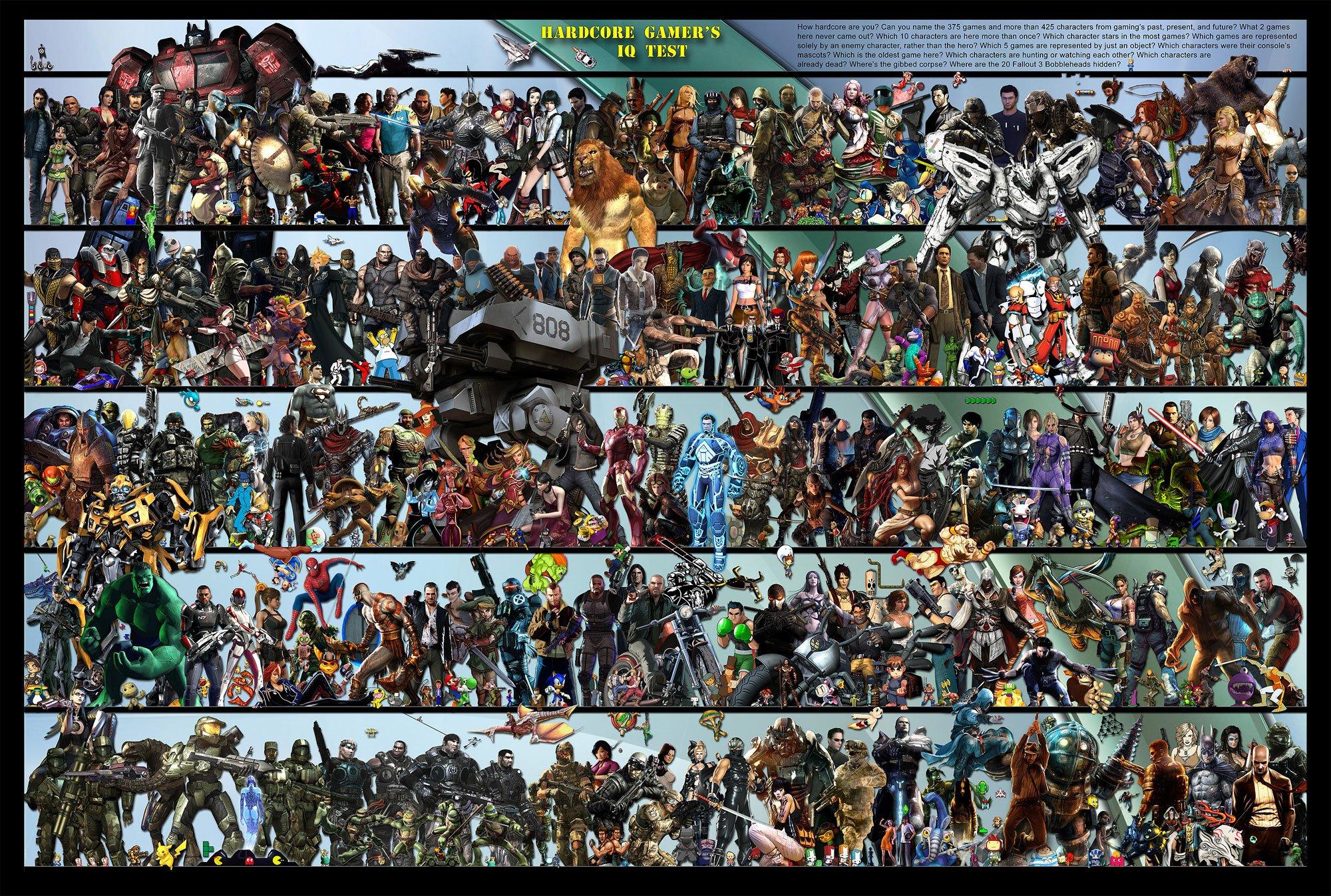 Дичайший боян, наверное, но таки 375 персонажей игр в одной пикче. Кому скучно - можно повыбирать знакомые лица. Вот ... - Изображение 1