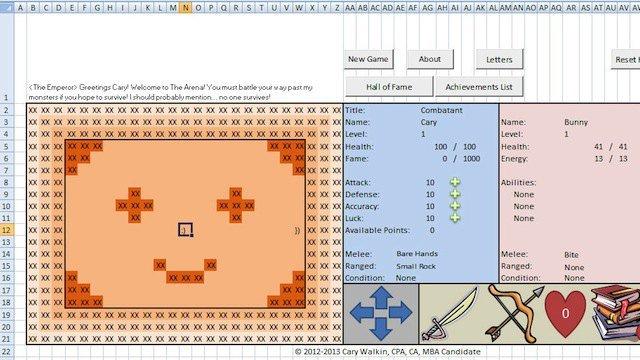 Бухгалтер из Канады создал RPG-игру в Excel-е. О_о  В игре задействованы: 2000 врагов, каждый из которых обладает св ... - Изображение 1