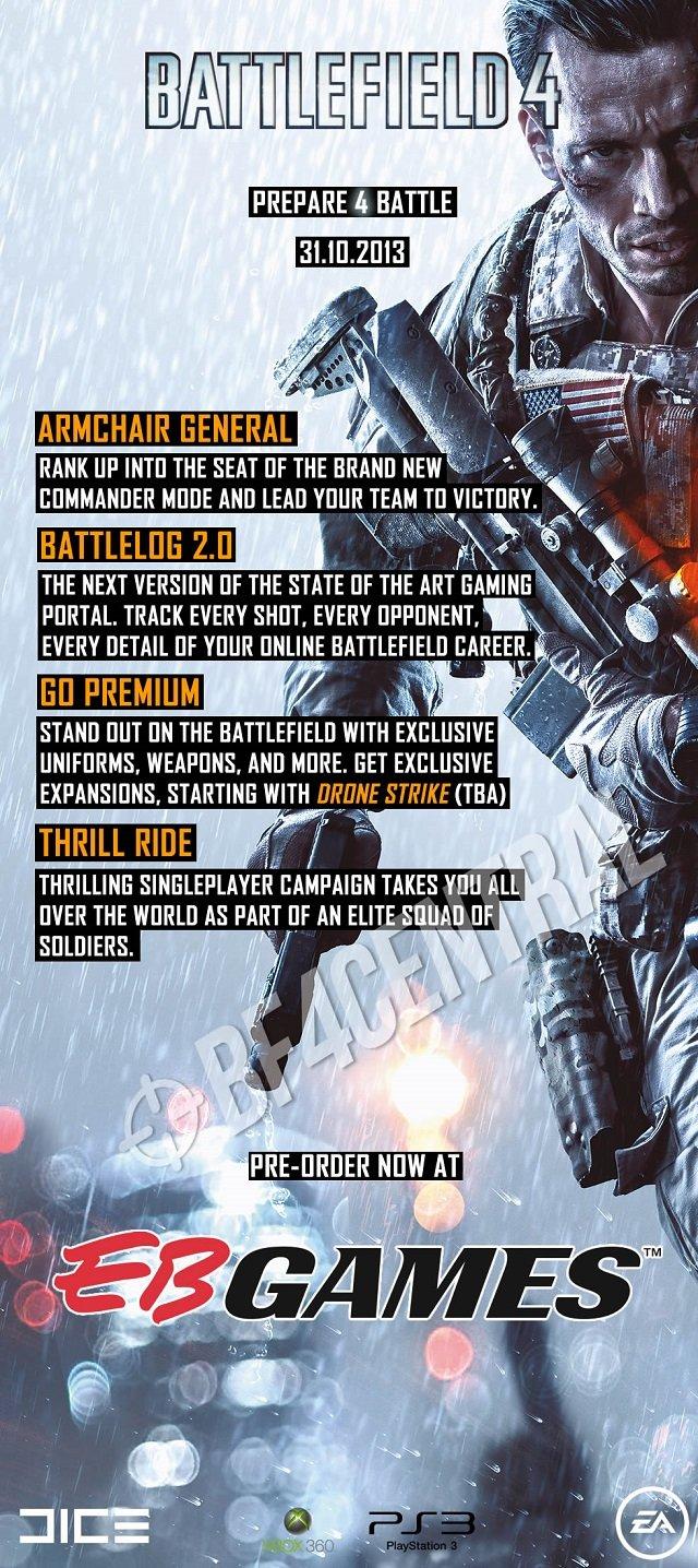 Утечка инфы о Battlefield 4 от ритейлера. Итого пока имеем : 1. Вернули командира 2. Новый батлог 3. Премиум и назва ... - Изображение 1