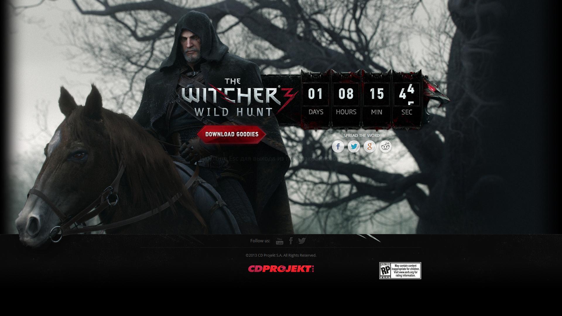 Запущен мистический таймер для The Witcher 3: Wild Hunt - Изображение 1
