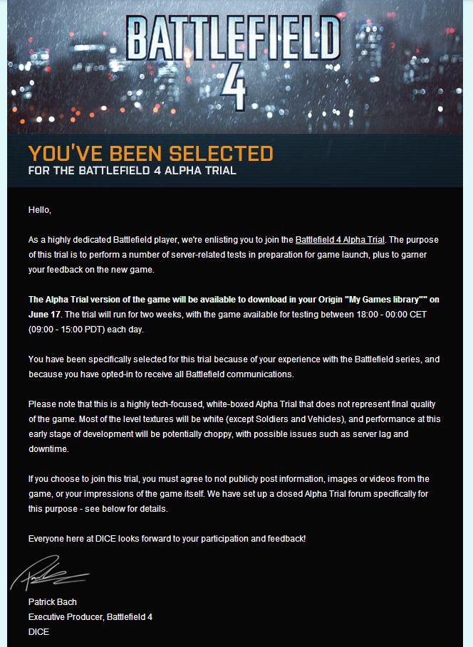 приглашение в альфу батлфилда. тест будет проходить с 17-го числа в течение двух недель. - Изображение 1